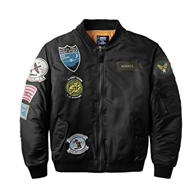 Amazon.com: Neo-wows Men's Bomber Jacket with Patches: Clothing
