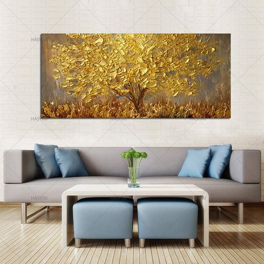 : 50x100cm BAYUE Cuchillo pintado a mano /Árbol de oro Pintura al /óleo sobre lienzo Paleta grande Pinturas 3D for sala de estar Im/ágenes de arte abstracto moderno de la pared Size Inch