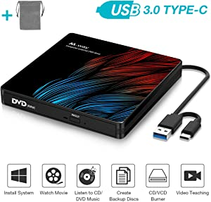 External DVD Drive, M WAY USB 3.0 External DVD CD ROM Drive, USB-C External DVD Player, Portable DVD +/- RW Optical Drive for Laptop PC Computer MacBook OS Windows 7/8/10/Linux (with Storage Bag)