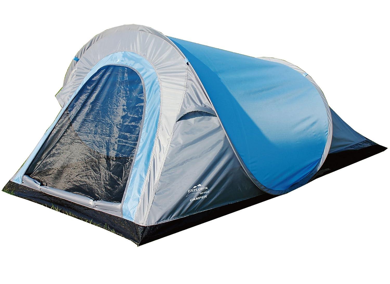 EXPLORER Zelt Pop-up-Zelt Camper in Sekunden aufgebaut! 220x120x90/60cm 2 Personen 1000mm Wassersäule Pop up Funktion Outdoor Wandern Familie Camping