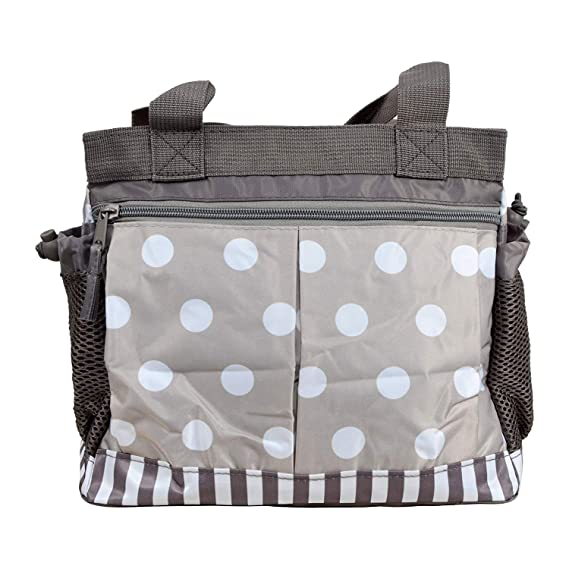 Unique Ideas New Born Baby Multipurpose Polyester Diaper/Mother Bag with Holder Diaper Changing Multi Compartment (Brown Stripes, Medium)