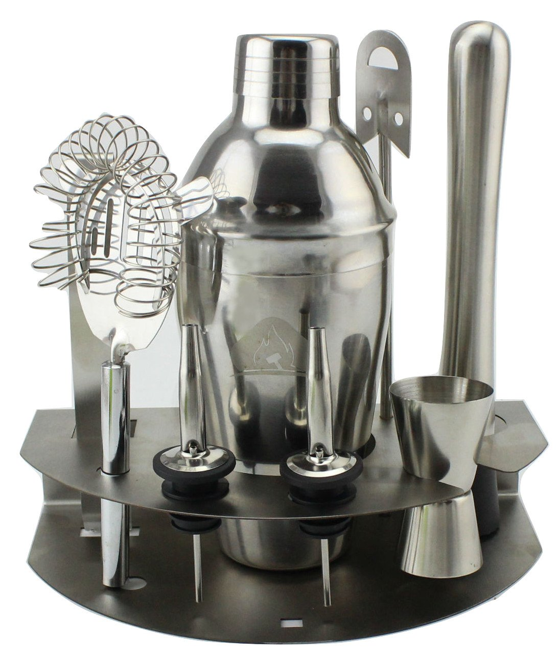 Stainless Steel Cocktail set Mixology kit with Shaker Jigger Muddler Strainer Mixing straw Ice tongs stand and 8 cocktail Recipies for the home kitchen of any Bartender or Mixologist