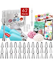 Kitchwise Cake Decorating Supplies Kit Tips 62 Pieces, 36 Stainless Steel Icing Tip Set, 2 Reusable Coupler and 20 Silicone Pastry Bags