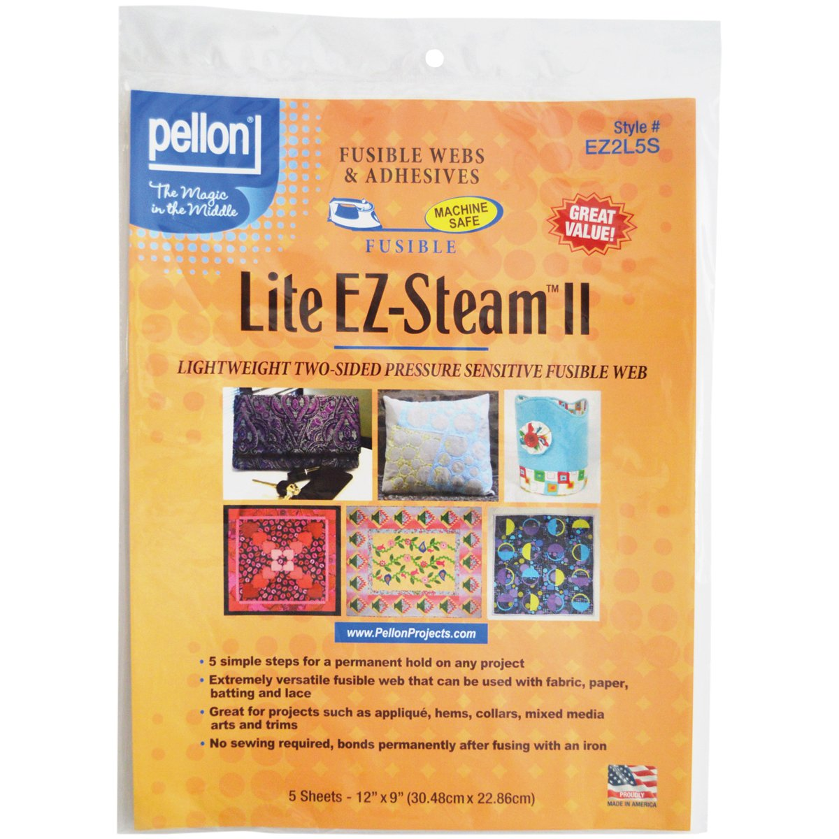Pellon Daylight EZ Steam II Lite Sheets, 12 by 9-Inch, White, 5 Per Package 100063