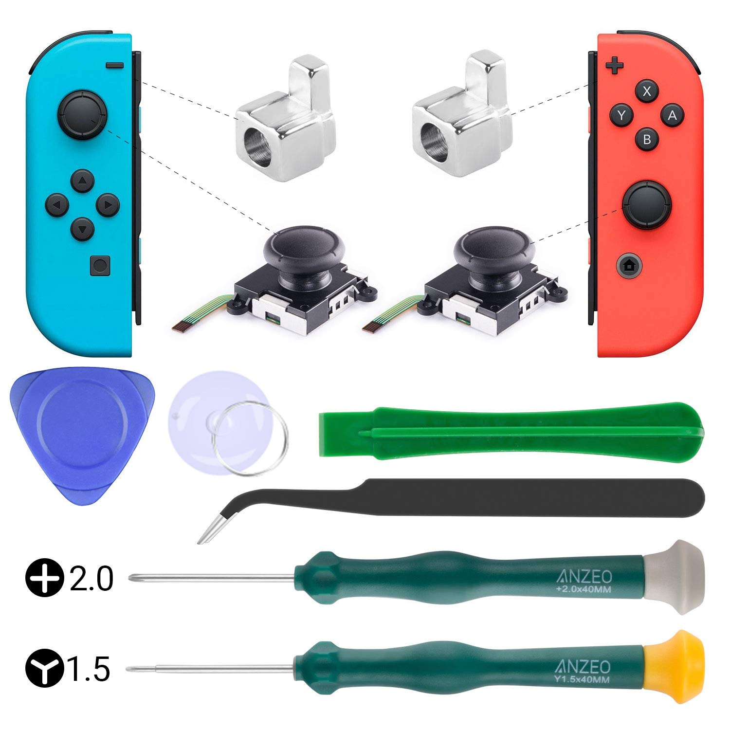 2-Pack 3D Replacement Analog Joystick for Nintendo Switch Joy Con Analog Thumb Stick Include Tri-Wing & Cross Precision Screwdriver Tool + 2 Pcs Metal Lock Buckles for Nintendo Switch Controller by TAESSV
