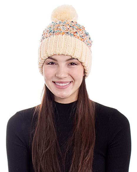 Women s Chunky Cable Knit Beanie With Yarn Pom Pom c7e26886737