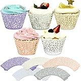 Tomnk 100 Stück Spitze Kuchen Pappbecher Cupcake Verpackungen Kuchenverpackung, für Hochzeit Geburtstag Party Baby Dusche Dekoration( 5 Farben )
