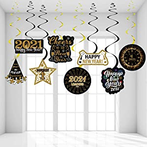New Years Eve Party Supplies 2021 New Years Decorations 2021 Happy New Year Hanging Swirl New Years Eve Decor 2021 NYE Decorations 2021 New Years Eve Hanging Swirl Already Assembled by HappyField