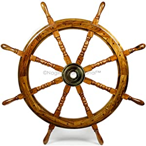 Nagina International Nautical Handcrafted Wooden Ship Wheel - Home Wall Decor (36 Inches, Natural Wood)