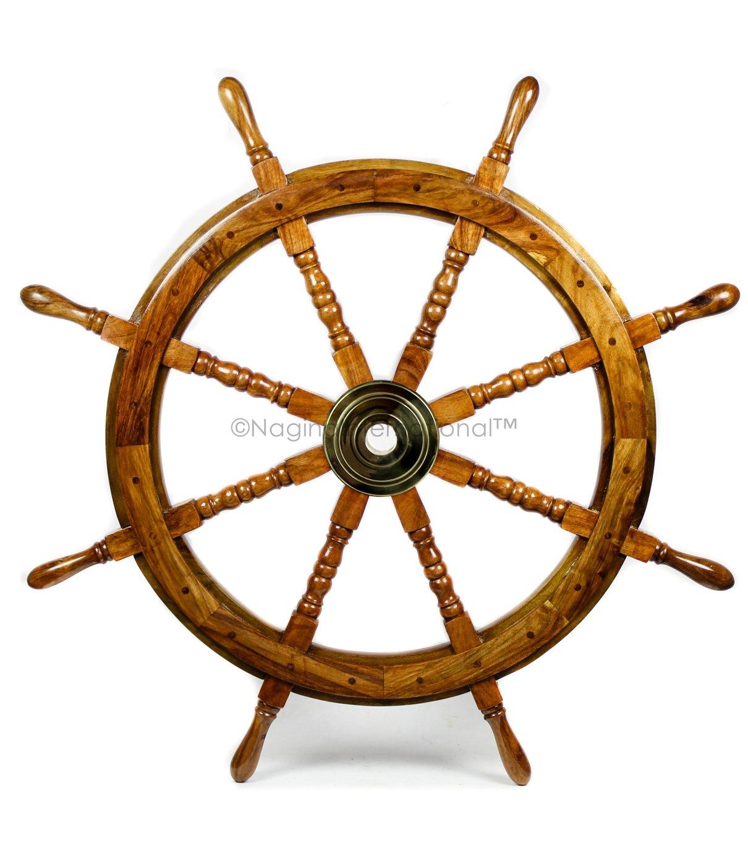 Nautical Handcrafted Wooden Ship Wheel - Home Wall Decor - Nagina International (36 Inches, Natural Wood)