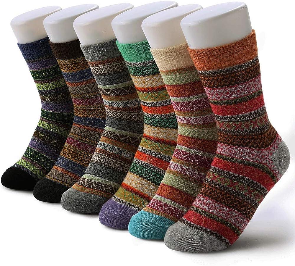 6 Pairs Womens Wool Socks Vintage, Borogo Womens Vintage Winter Soft Cabin Warm Socks Thick Knit Cozy Winter Socks for Women Gifts