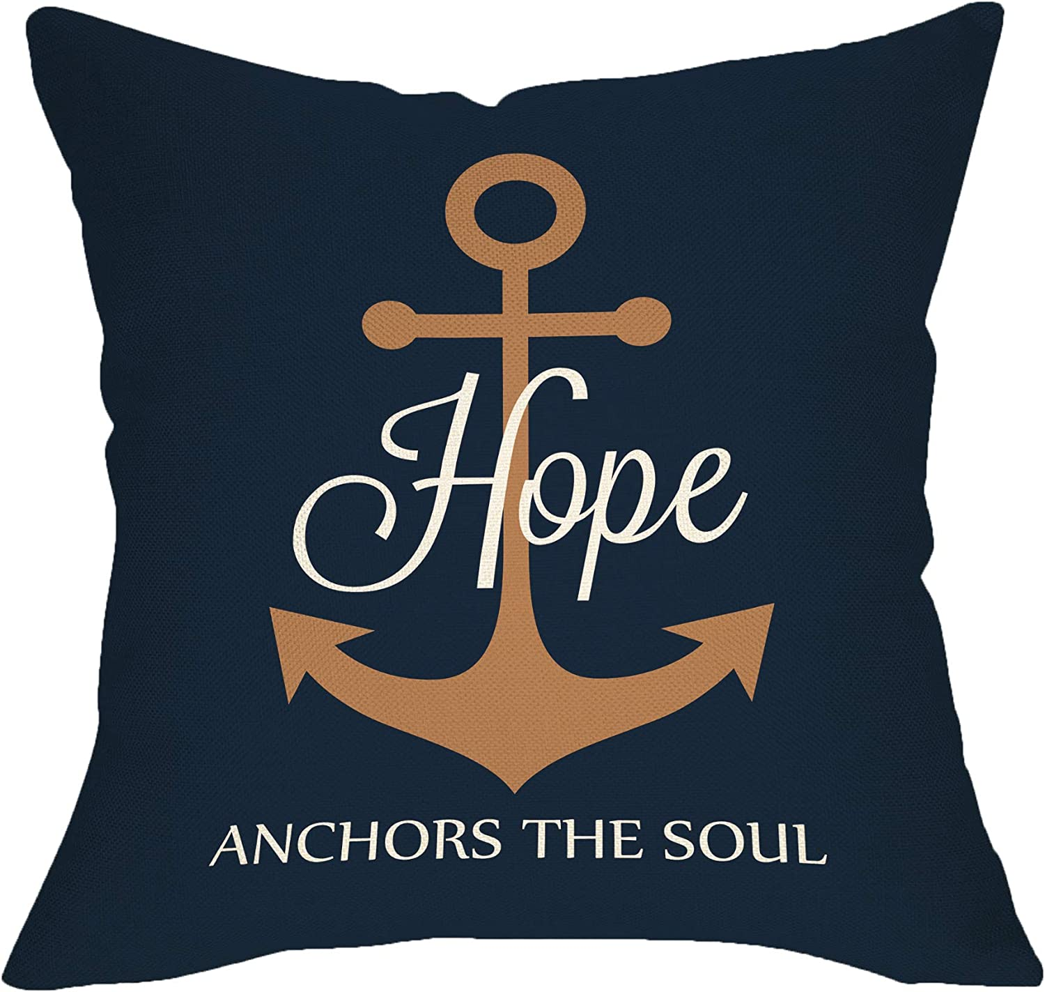 "Softxpp Hope Anchors The Soul Inspirational Decoration Nautical Summer Farmhouse Throw Pillow Cover Navy Blue Sign Home Decor Cushion Case Decorative for Sofa Couch 18"" x 18"" Inch Cotton Linen"