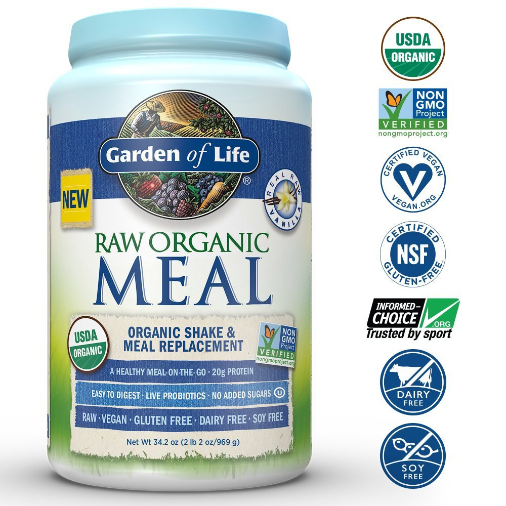 Garden Of Life Meal Replacement Organic Raw Plant Based Protein Powder Vanilla Vegan Gluten