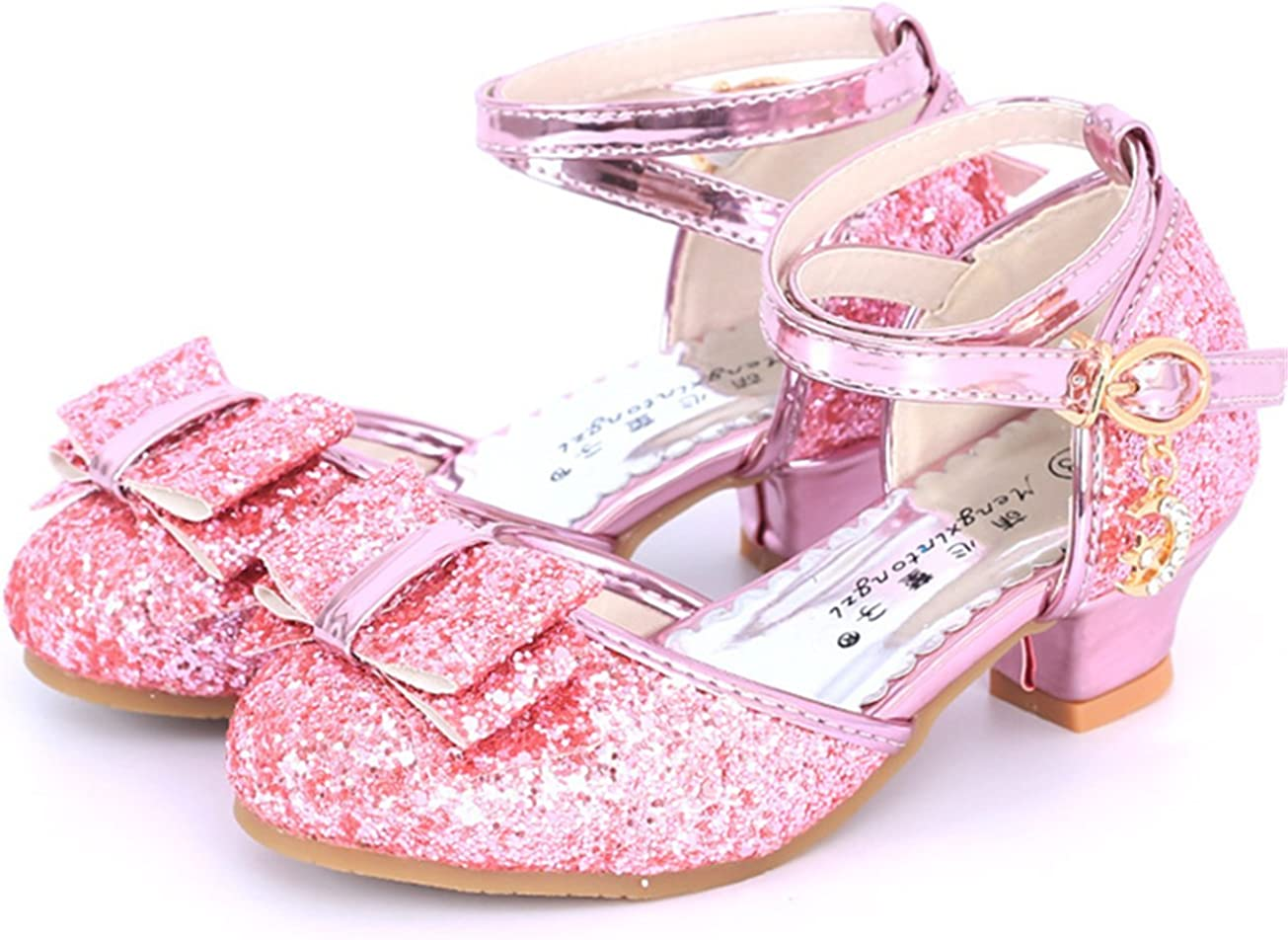 Chaussure /à Talon Enfant Ballerine Princesse Paillettes pour Mariage D/éguisement YOGLY Sandales Ceremonie Fille