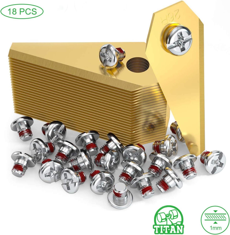 O'woda 18x Cuchillas de Repuesto de Titanio, Hoja De Repuesto Robot Cortacésped para Bosch Indego, Incluye Tornillos (Oro)