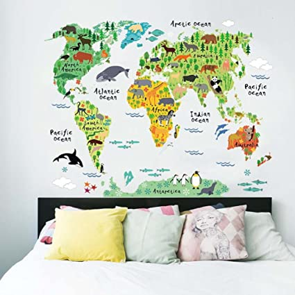 Amazon yjydada wall stickersanimal world map wall stickers yjydada wall stickersanimal world map wall stickers kids rooms bedroom decor home living colorful gumiabroncs Gallery