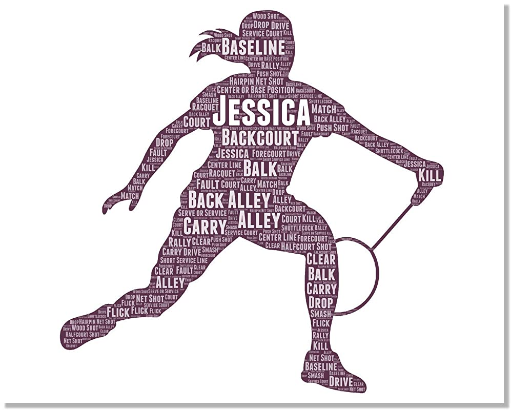 Badminton Gifts - Personalized Wall Art Gift for Female badminton-sports Player - Birthday Gifts Typography Wordle Wordart Poster Wall Prints 8x10 Inch…