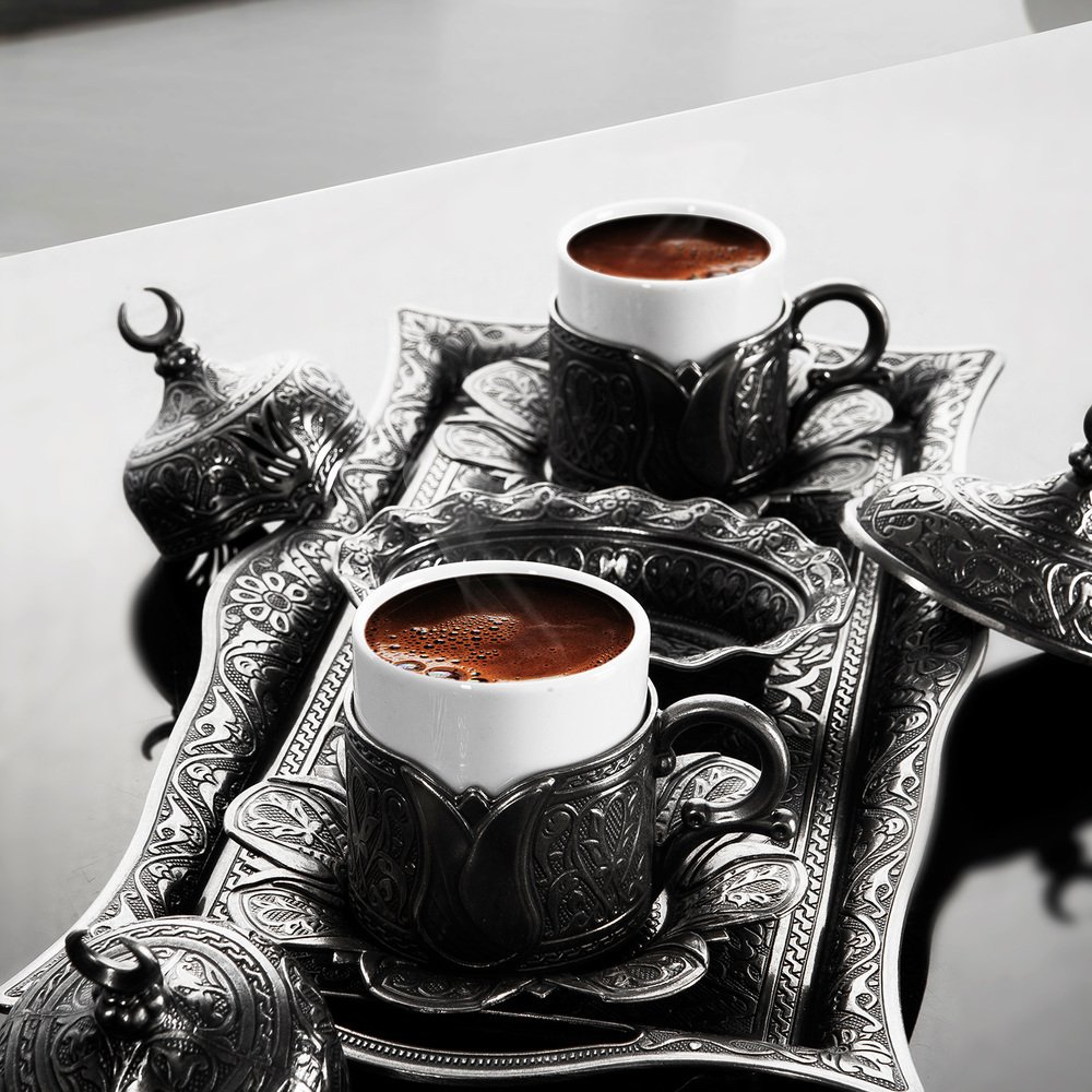 Premium Turkish Greek Arabic Coffee Espresso Serving Set for 2,Cups Saucers Lids Tray Delight Sugar Dish 11pc (Antique Silver) LaModaHome COMINHKPR79398
