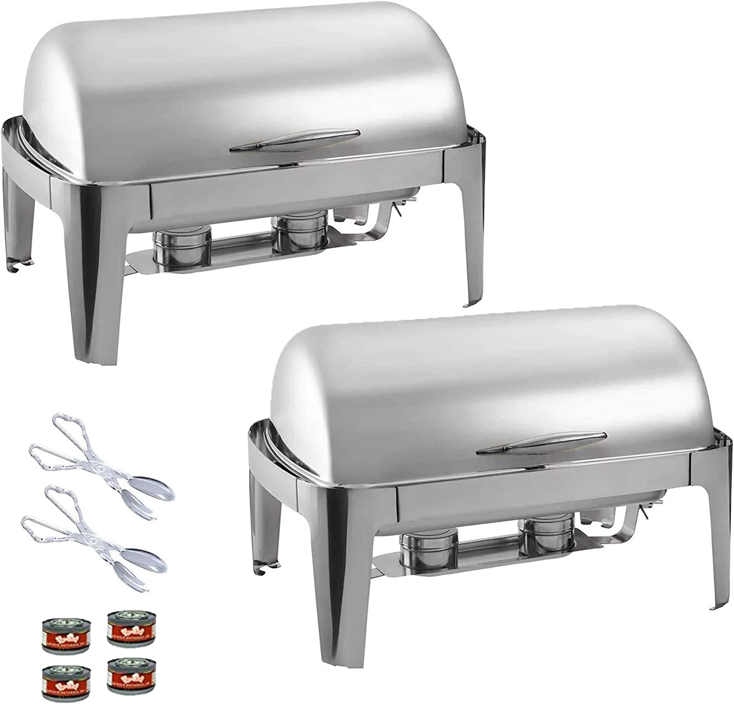 TigerChef Chafing Dish Buffet Set - Roll Top Chaffing Dishes Stainless Steel - 2 Chafer and Buffet Warmer Set with 4 Fuel Gel and 2 Plastic Tongs