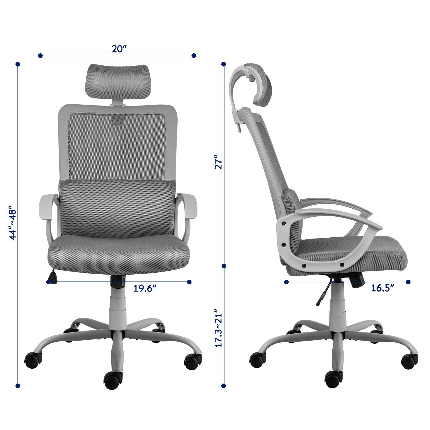 Smugdesk Ergonomic Office Chair High Back Mesh Office Chair Adjustable Headrest Computer Desk Chair for Lumbar Support, Grey by Smugdesk (Image #8)