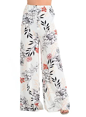 ca2da684652 Womens Floral Tropical Leaf Print Palazzo Trousers High Waist Pants (Black Leaf  Print