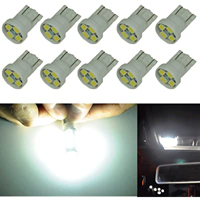 Cutequeen 10PCS LED Car Lights Bulb White T10 2835 4-SMD 160 Lumens 194 168 (pack of 10): Automotive