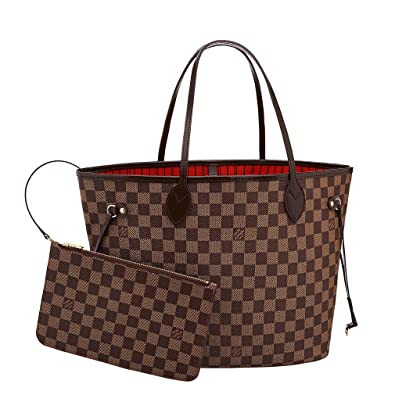 c10da7468285 Louis Vuitton Damier Canvas Neverfull MM Red Shoulder Handbag Article   N41358 Made in France  Handbags  Amazon.com