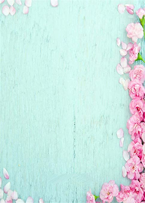 5x7ft Light Blue Backdrop Pink Floral For Wedding Amazonco