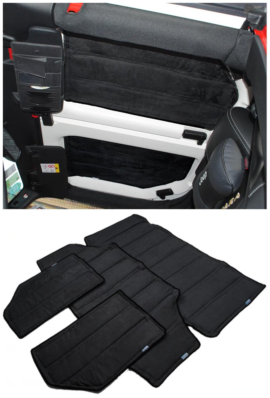 FMtoppeak 4 Pcs Black Hardtop Sound Deadener & Insulation for 4 door 2012-2016 Jeep Wrangler Soft Top Headliner