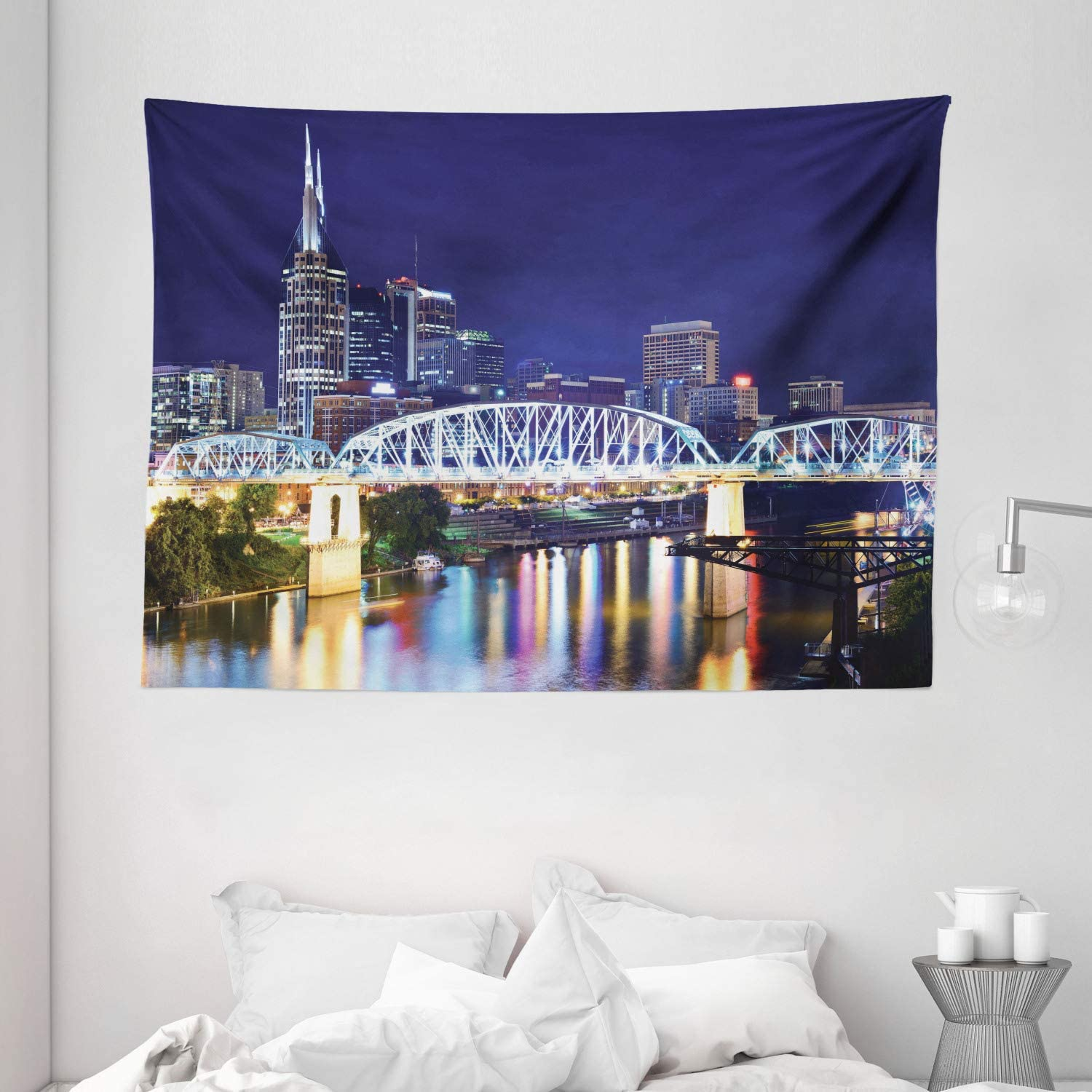 Apartment Decor Tapestry by Ambesonne, Skyline Of Downtown Nashville, Tennessee, Usa. Reflection Travel Destinations, Wall Hanging for Bedroom Living Room Dorm, 80 X 60 Inch, Purple Green
