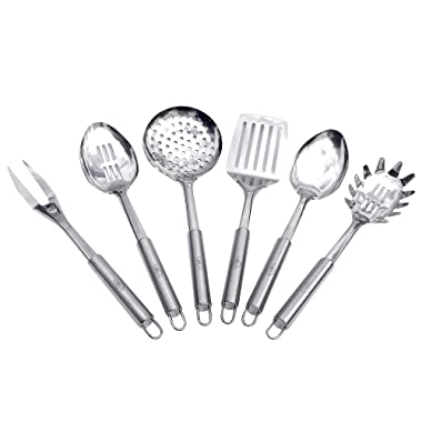 Sofie's Cottage Stainless Steel Cooking Utensils - Kitchen Utensils Set of 6, Spoon, Slotted Spoon, Spatula, Fork, Skimmer & Pasta Spoon, Durable Easy Grasp Handles, Easy to Hang, Dishwasher Safe