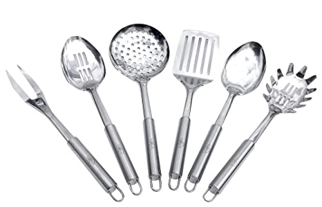 Sofie\'s Cottage Stainless Steel Cooking Utensils - Kitchen Utensils Set of  6, Spoon, Slotted Spoon, Spatula, Fork, Skimmer & Pasta Spoon, Durable Easy  ...