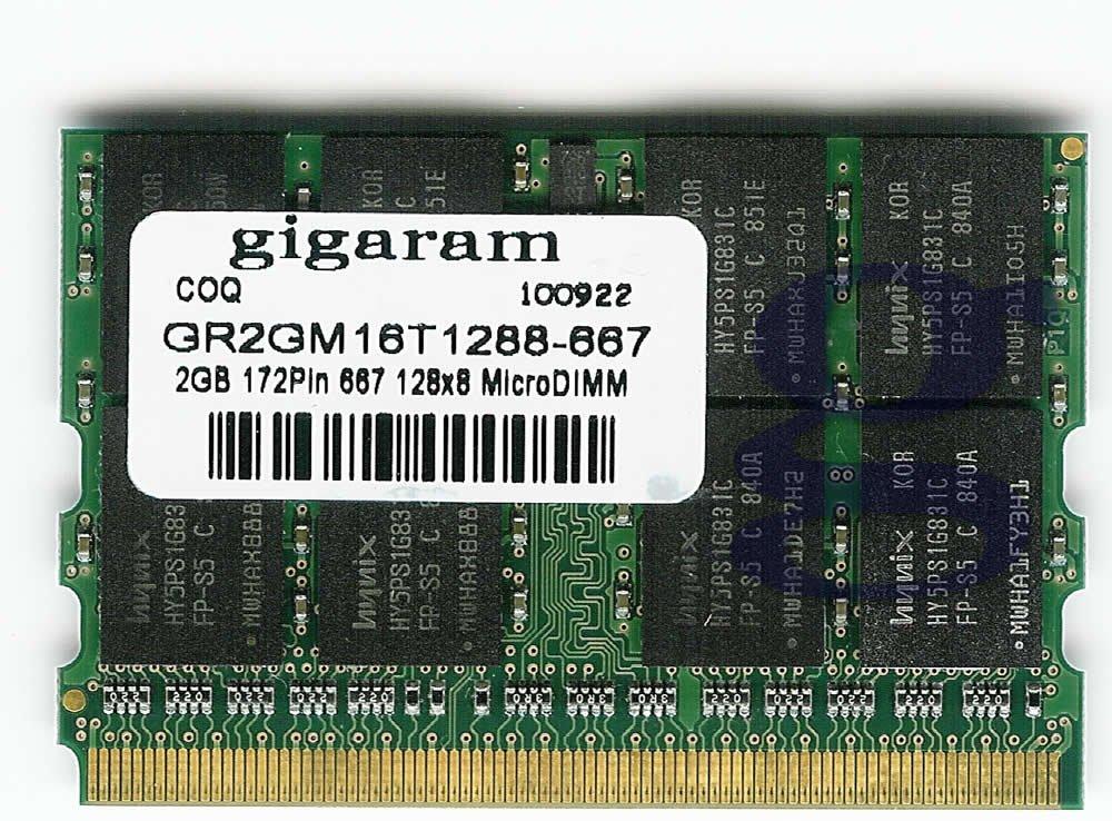 Gigaram 2GB 172pin Fujitsu Lifebook P1610 DDR2 667Mhz Micro DIMM Memory by Gigaram