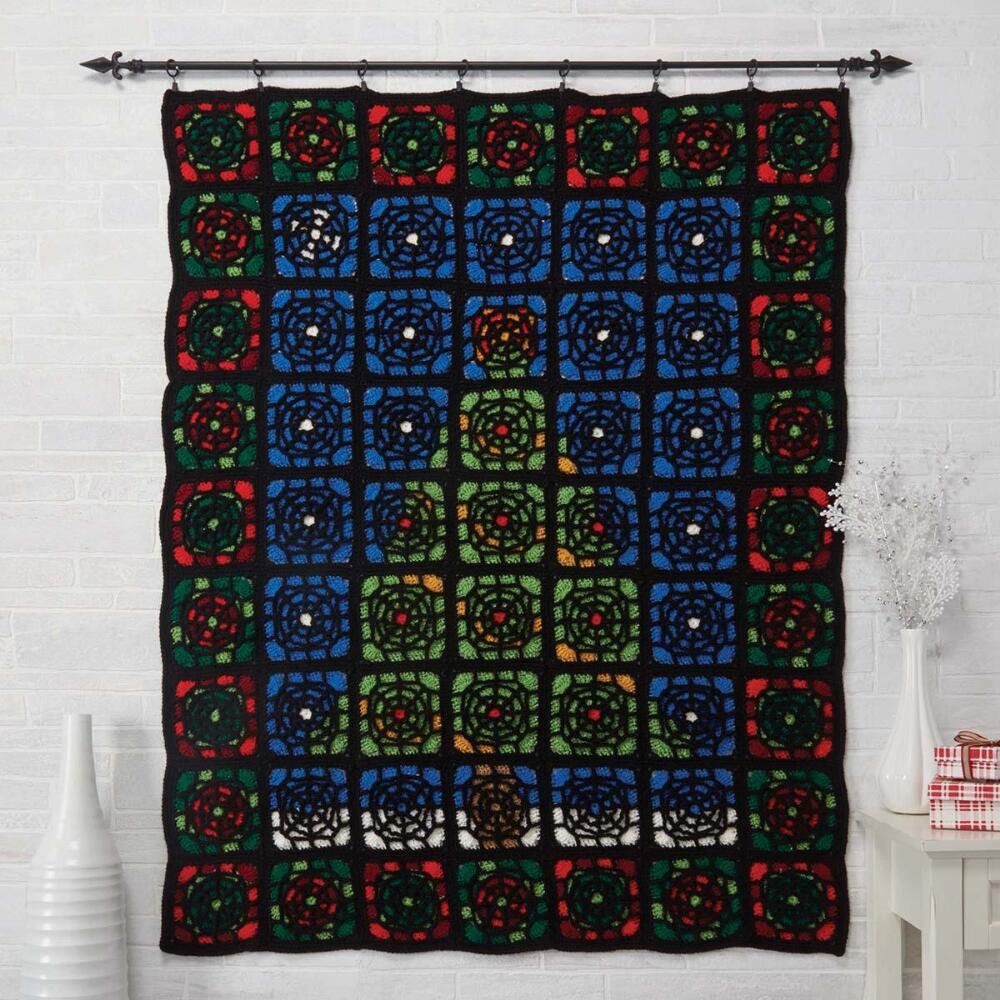 Amazon Herrschners Stained Glass Christmas Crochet Afghan Kit