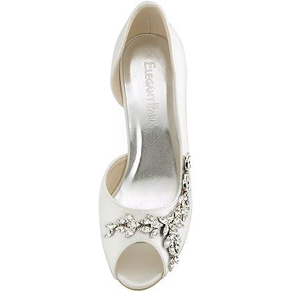 f2bbe72fa838 ... ElegantPark HP1542 Women Peep Toe Rhinestones Pumps High Heel Satin  Wedding Bridal Dress Shoes Ivory US ...