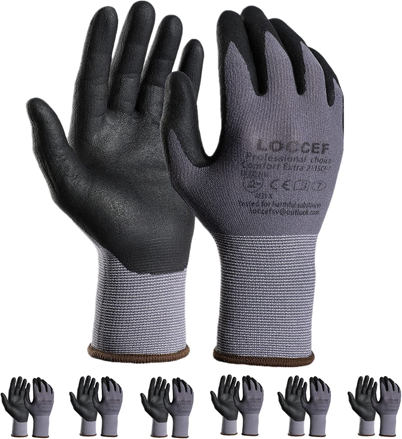 LOCCEF Safety Work Gloves MicroFoam Nitrile Coated-12 Pairs,Seamless Knit Nylon Gloves,Gray Work gloves,Home Improvement