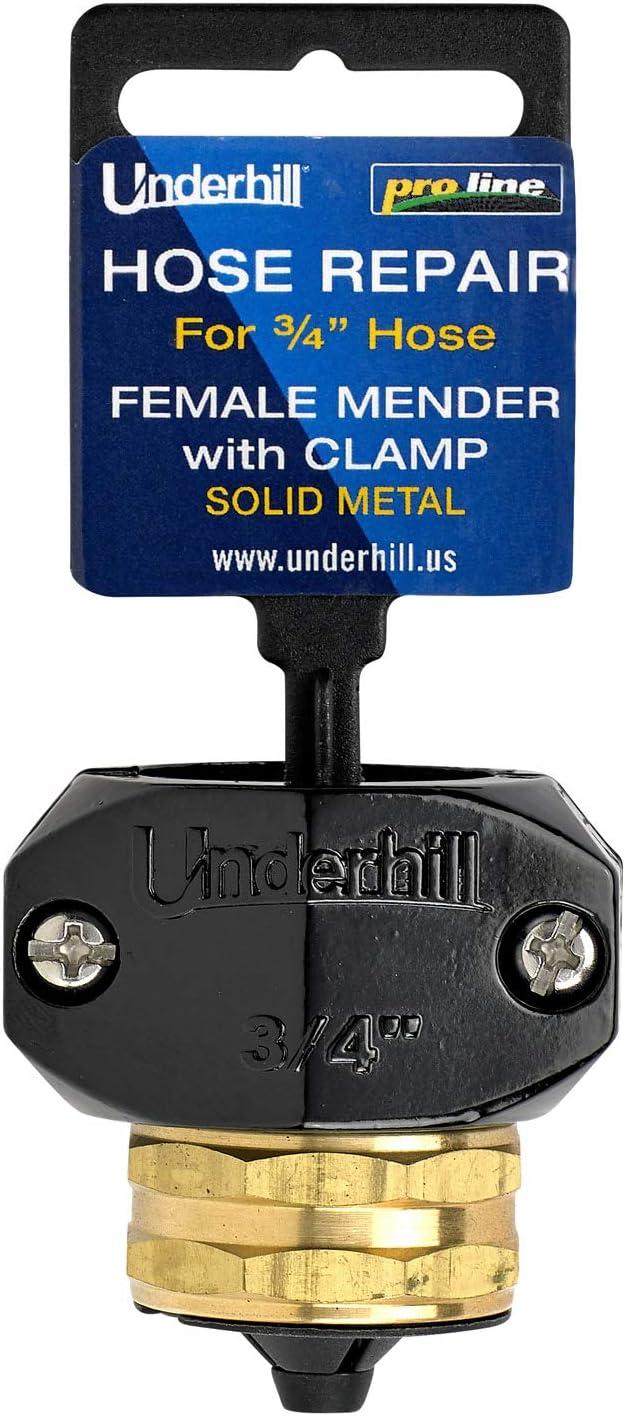 Underhill Metal Garden Hose Repair Super Heavy Duty Brass Menders with Zinc Clamp - HR-75F - 3/4