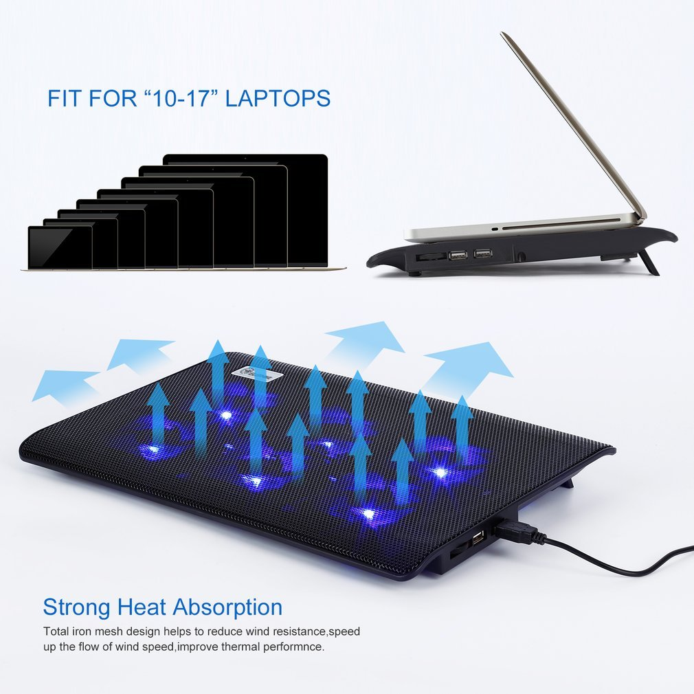 ELEPAWL Comodo design ergonomico Super Mute 6 Fans Laptop Cooler Computer Computer Computer Base Plate