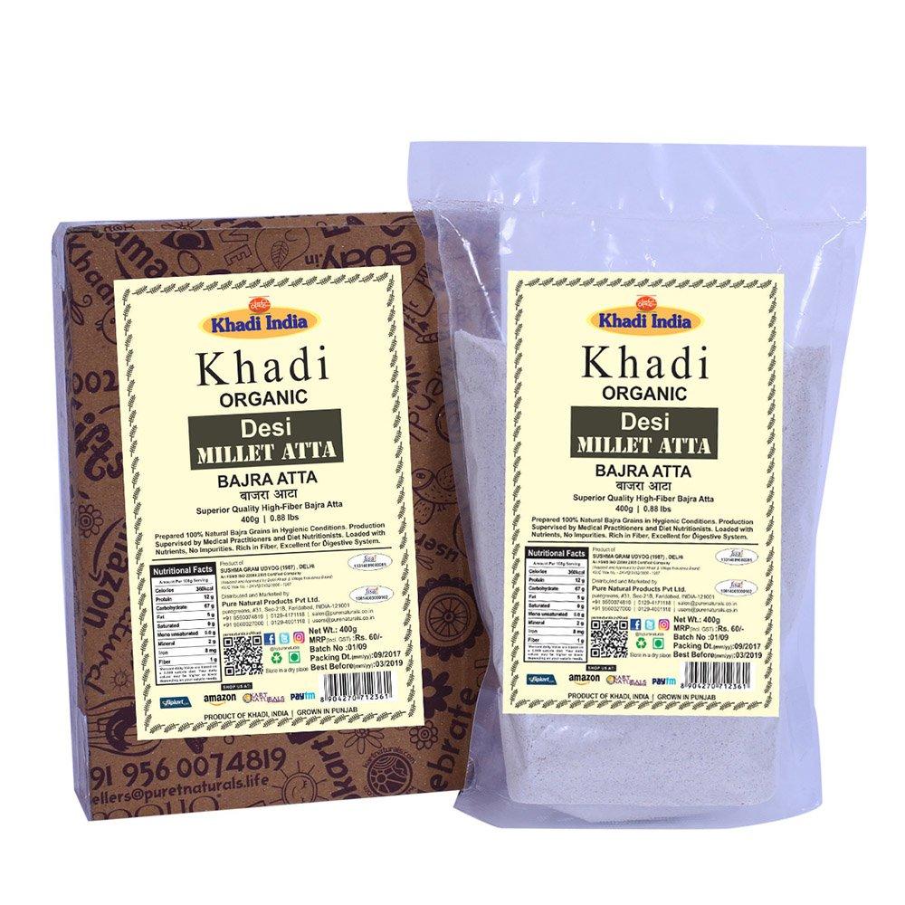 Khadi Organic Pure Fresh High-Fibre Bajra (Millet) Atta 400 GM - 100% Natural Pure Flour for Diet Rich in High Fibre & Protein, Healthy Organic Food Good for Digestion