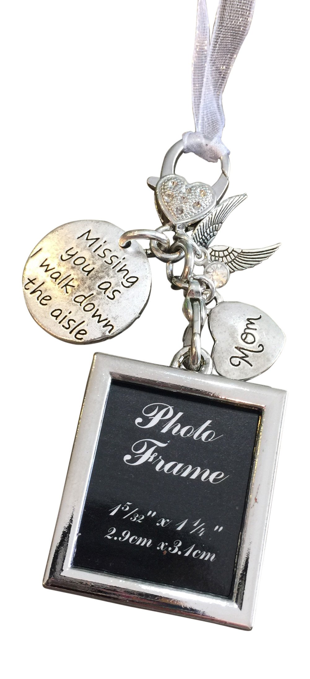 Harper Olivia Bridal Bouquet Photo Charm Missing You As I Walk Down The Aisle Wedding Memorial Gift for Mom