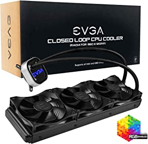 EVGA CLC 360mm All-in-one RGB LED CPU Liquid Cooler, 3X FX12 120mm PWM Fans, Intel, AMD, 5 Yr Warranty, 400-Hy-CL36-V1