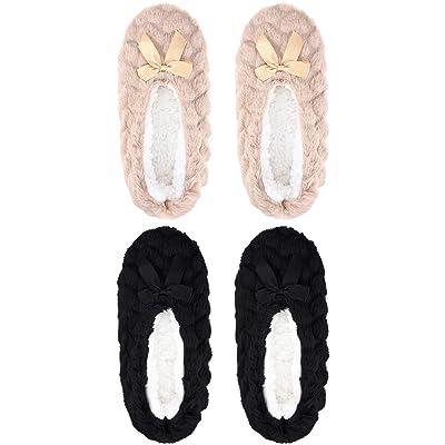 2 Pairs Woman Velvet Slipper Ballerina Slippers Comfort Anti-skid Slipper Socks for Christmas Presents, the Elderly's Gift (5-6 Women): Clothing