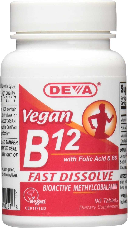 Deva Vegan Vitamins Sublingual B12 1000 mcg Tablets