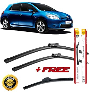 Set of 3 flat blade wiper blades for T0Y0TA AURlS 2012 rear wiper FREE of charge! ++: Amazon.es: Coche y moto