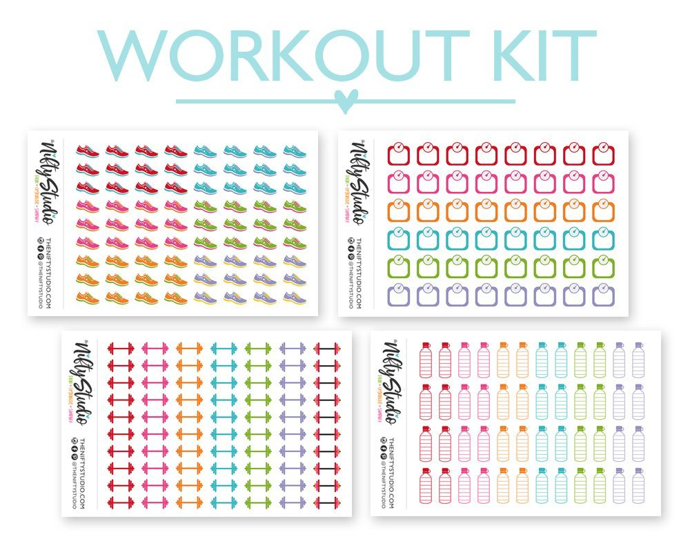 Workout Sticker Bundle Exercise | The Nifty Studio | Planner Stickers | Stickers for planners | Calendar Stickers | Agenda Stickers