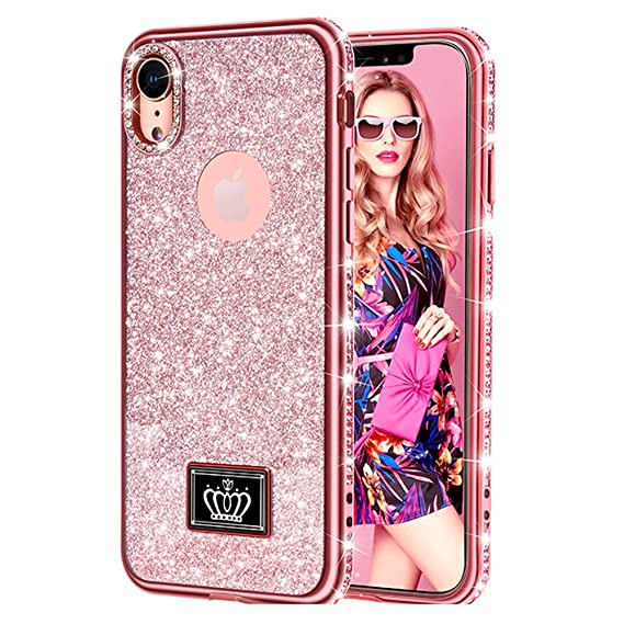 buy popular b4dee dd3eb Pnuotuos iPhone XR Case for Girl Women, Cute Girly Glitter Bling Diamond  Rhinestone Bumper Sparkly Protective Phone Cases for iPhone XR [6.1 inch] -  ...