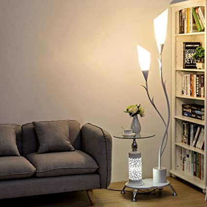 LOFAMI Lampada da terra moderna, con ripiani in vetro, 2 paralume in  acrilico bianco chiaro, decorazione in metallo lampada per soggiorno camera  da ...