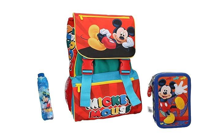 Mickey Mouse Mochila niño bolsa de escolar rojo + estuche + paraguas ...