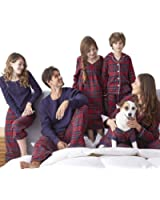 SESY Family Pajamas Sets Matching Classical Red Plaid Loungewear Button Front Blouse & Trousers Holiday Suits