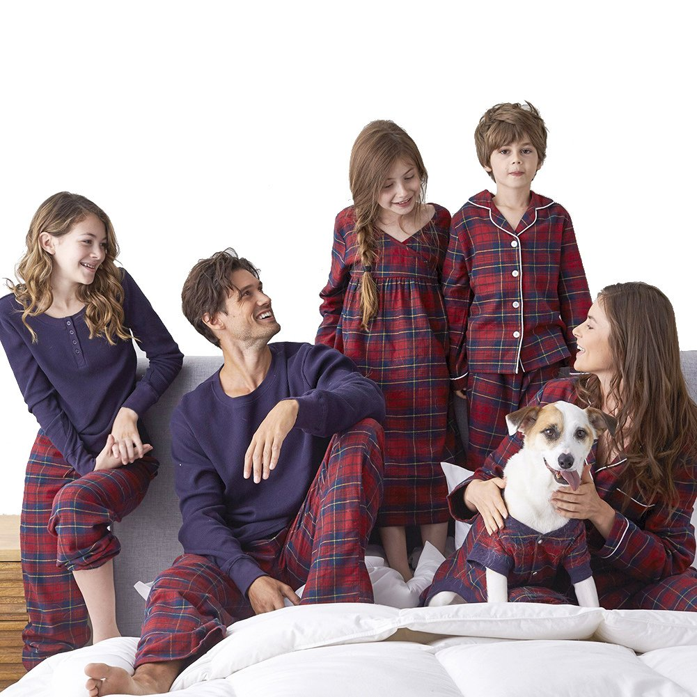 SESY Family Christmas Pajamas Matching Sets Red Plaid Loungewear Button Front Blouse Trousers Holiday Suits